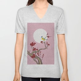 Plum blossoms, bird, and the moon Type G (Minhwa: Korean traditional/folk art) Unisex V-Neck
