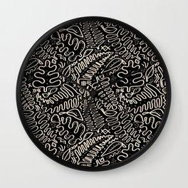 Leaf Mudcloth in Black + Bone Wall Clock