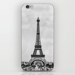 Eiffel tower, Paris France in black and white with painterly effect iPhone Skin