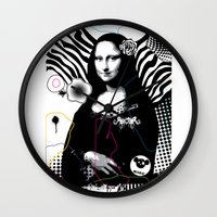 mona lisa Wall Clocks featuring mona lisa by MiSHiO DESIGN