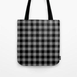 Gray and Black Lumberjack Buffalo Plaid Fabric Tote Bag