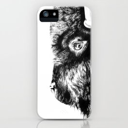 Bison black and white sketch iPhone Case