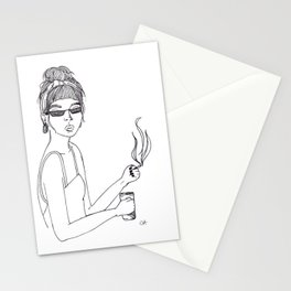 Hipster Girl, Modern Art, Minimalist, Ink, Boho Wall Art, Woman Strong Stationery Cards