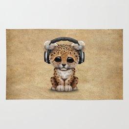 Cute Leopard Cub Dj Wearing Headphones Rug