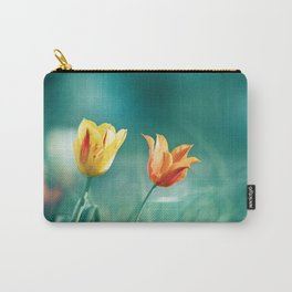Teal Orange Nature Photography, Turquoise Yellow Tulips Photo, Aqua Teal Green Flower Art Print Carry-All Pouch