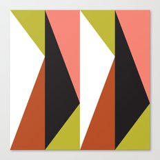 Pink, lime black triangle pattern (2015) Canvas Print