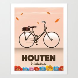 Houten Netherlands Cycling poster print. Art Print