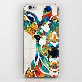 Colorful Giraffe Art - Curious - By Sharon Cummings iPhone Skin