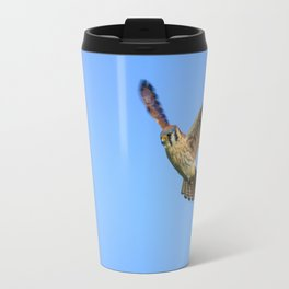 An American Kestrel Flying Looking For Prey in Nehalem, Oregon Travel Mug