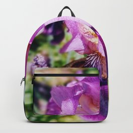 Purple Striped Bearded Iris Backpack