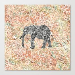 Tribal Paisley Elephant Colorful Henna Floral Pattern Canvas Print
