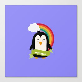 Penguin Rainbow from Amsterdam T-Shirt Canvas Print