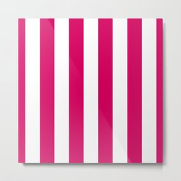 Bright Pink Peacock and White Wide Vertical Cabana Tent Stripe Metal Print