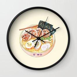 Ramen Pugs Watercolor Wall Clock