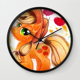 AppleJack My Little Pony Watercolor Wall Clock