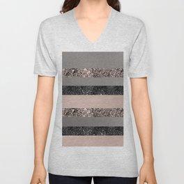 Blush Glitter Glam Stripes #1 #shiny #decor #art #society6 Unisex V-Neck