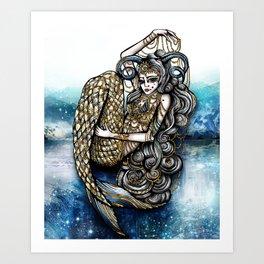 Astrology Illustration series-Capricorn Art Print