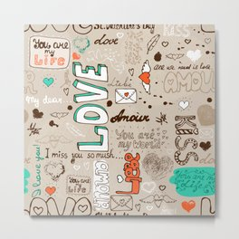 Seamless love letter pattern Metal Print