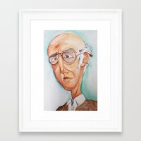 larry david Framed Art Prints featuring King Larry David by Kendall Sudduth