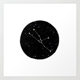 Taurus constellation black and white minimal star chart stars outer space astronomy Art Print