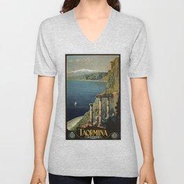 Vintage Taormina Sicily Italian travel ad Unisex V-Neck