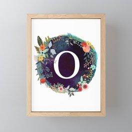 Personalized Monogram Initial Letter O Floral Wreath Artwork Framed Mini Art Print