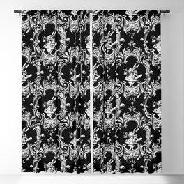Alice in Illustration C15 Wonderland White Rabbit on Black Stripe Background Blackout Curtain