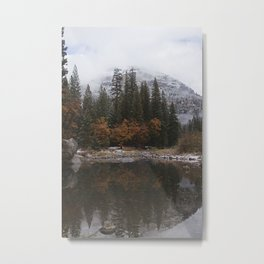 Wawona Dome reflected in the Merced River Metal Print