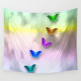 Rainbow of butterflies on textured chevron pattern Wall Tapestry