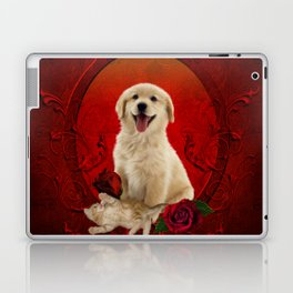 Cute little kitten with dog Laptop & iPad Skin