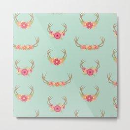 Floral Deer Neck Gator Boho Deer Antlers Metal Print