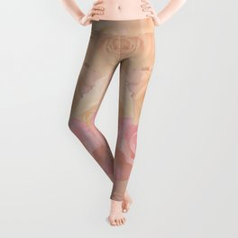 Pastel painterly roses Leggings