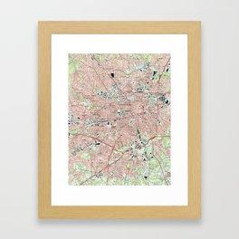 Greensboro North Carolina Map (1997) Framed Art Print