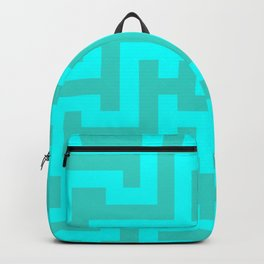 Cyan and Turquoise Labyrinth Backpack