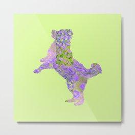 Bernese Mountain Dog Vintage Floral Pattern Purple Lilac Lavender Green Pink Metal Print