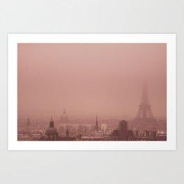 A foggy day Paris Art Print