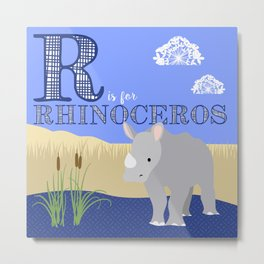 R is for Rhinoceros Metal Print