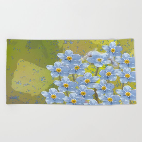 Forget-me-not flowers - watercolor art on green background Beach Towel