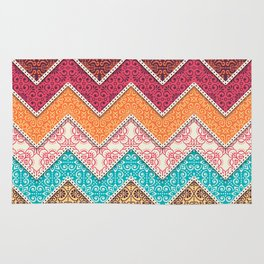 Boho, Ethnic, Moroccan, Zig Zag Chevron Pattern, Colorful Bohemian Decor Rug