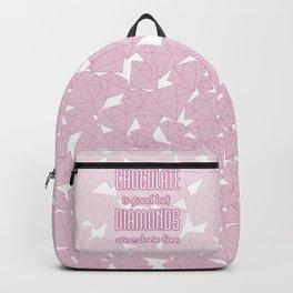 Chocolate vs. diamonds / Lineart diamonds pattern with slogan Backpack