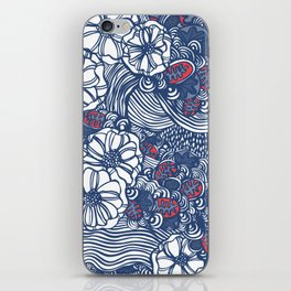 red and blue wavy floral iPhone Skin