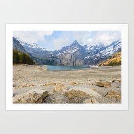 Oeschinen Lake Bernese Oberland Switzerland Art Print