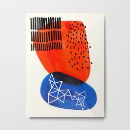 Mid Century Modern abstract Minimalist Fun Colorful Shapes Patterns Orange Blue Bubbles Organic Metal Print