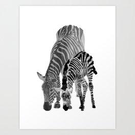 Striped Love (black and white) Art Print