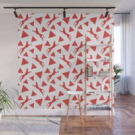 Gorgeous wild jumping cheetahs and abstract red geometric triangle shapes. Stylish classy elegant white retro vintage animal whimsical nature pattern. Silhouettes. Wall Mural
