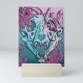 Cougar Skull With Chrysanthemums Mini Art Print
