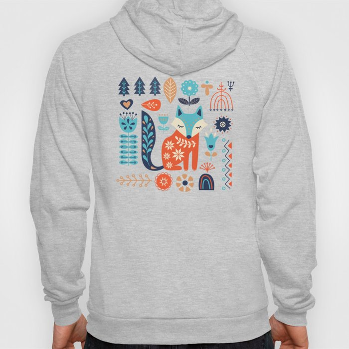 Soft And Sweet Scandinavian Fox Folk Art Hoody