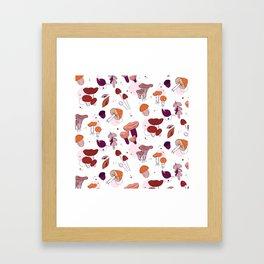 Mushrooms leaves Framed Art Print