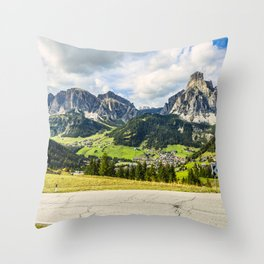 on the roads of dolomites Throw Pillow