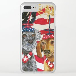 4th of July Celebration Dog Style Clear iPhone Case
